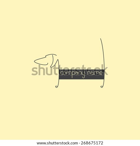 Stylized grey colored dachshund silhouette with tail up and lettering company name on body isolated on beige background. Logo template with space for company name on the dog`s body. Design element - stock vector