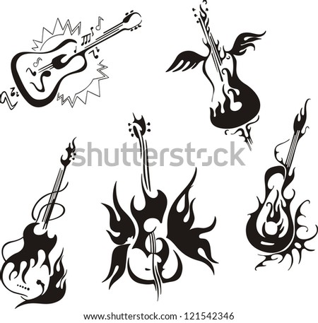Stylized guitars. Set of black and white vector musical emblems. - stock vector