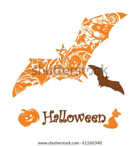 stylized halloween bat - stock vector
