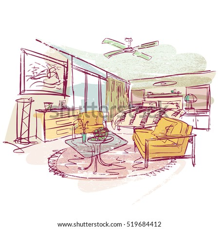 stylized hand drawn illustration, modern interior sketching