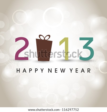 Stylized 2013 Happy New Year with gift box on snowflake background. EPS 10 - stock vector