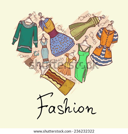Stylized heart with hand drawn and beautiful dresses. Vector for use in design - stock vector