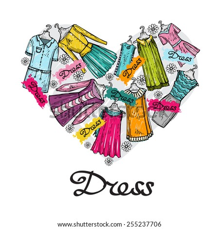 Stylized heart with hand dresses for women on white background. Vector for use in design - stock vector