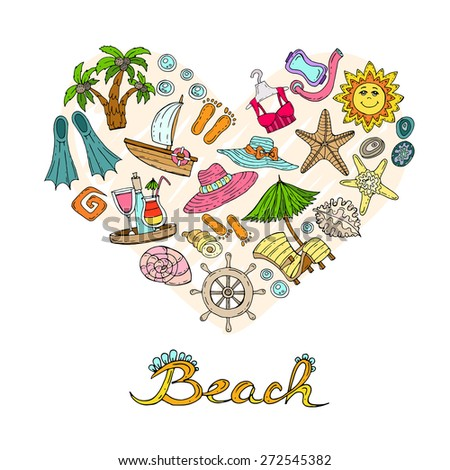 Stylized heart with sea and beach symbols on white background. Vector for use in design