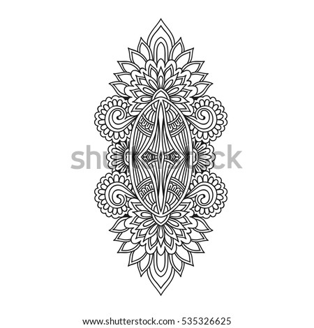 Stylized Henna Tattoo Flower Template In Indian Style Ethnic Floral Paisley Lotus Mehendi