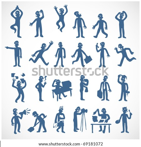 stylized human silhouettes in various situations - stock vector