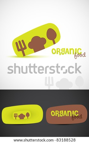 Stylized Icon such & business cards for Organic food, Vector EPS10. - stock vector