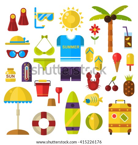 Stylized icons beach set summer symbols vector icons. Summer symbols travel sun sea and vacation set summertime symbols. Summer time symbols tourism, nature tropical summer symbols flat icons. - stock vector