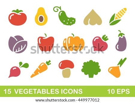 Stylized icons of vegetables, mushrooms and avocado
