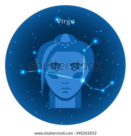 Stylized icons of zodiac signs in the night sky with zodiac bright stars constellation in front. Astrology symbol. Vector flat illustrations. Virgo zodiac sign. - stock vector