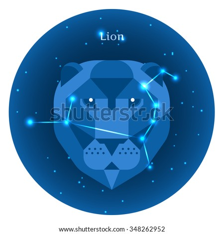 Stylized icons of zodiac signs in the night sky with zodiac bright stars constellation in front. Astrology symbol. Vector flat illustrations. Lion zodiac sign. - stock vector