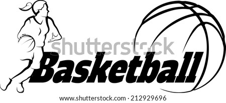 Stylized illustration of a girl basketball player driving to the basket inside a stylized ball. - stock vector
