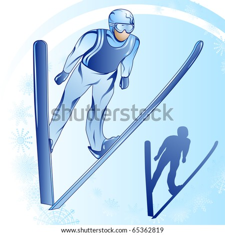 Stylized illustration of jumped skier on a blue background - stock vector
