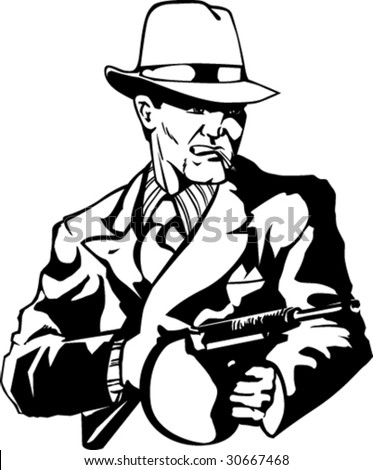 Stylized illustration of mobster with gun. - stock vector