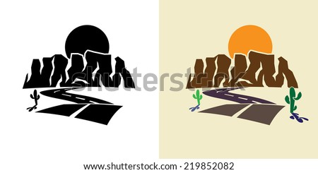 stylized illustration of the canyon road, cactus, against the setting sun - stock vector