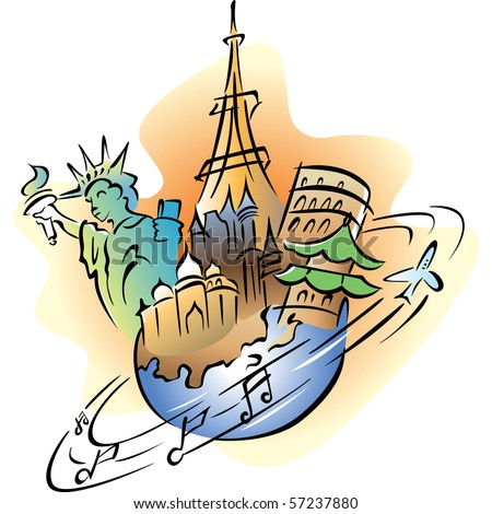 Stylized illustration of travel around the world design. - stock vector