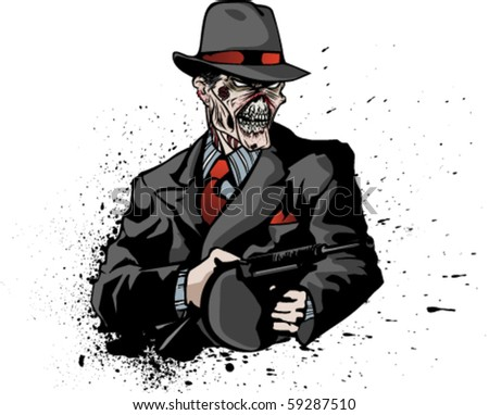 Stylized illustration of zombie mobster on inky or bloody splatter. - stock vector