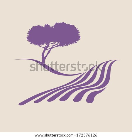 Stylized illustration showing the rural landscape of Provence - stock vector