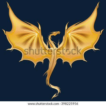 Stylized image of golden Dragon silhouette on dark blue background. Vector illustration template for  print, tattoo, mascot, emblem, logo. - stock vector