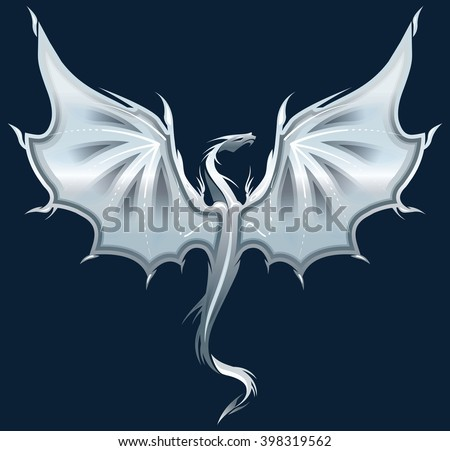 Stylized image of silver Dragon silhouette on dark blue background. Vector illustration template for  print, tattoo, mascot, emblem, logo. - stock vector