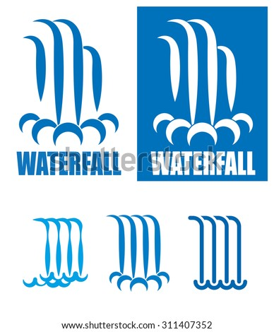Stylized Images Waterfalls Can Be Used Stock Vector 2018 311407352