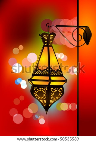 Stylized islamic lamp with beautiful blurred lights background - stock vector