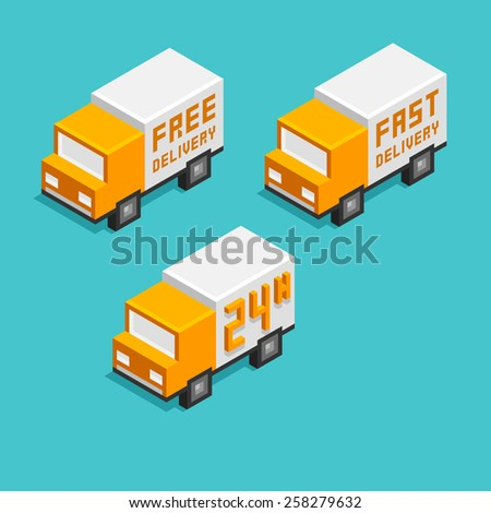 Stylized isometric delivery truck icons in three variants. - stock vector