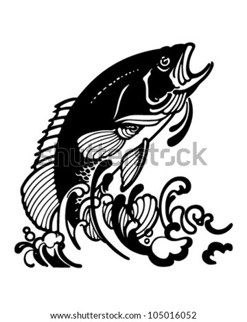 Stylized Jumping Fish - Retro Clipart Illustration - stock vector