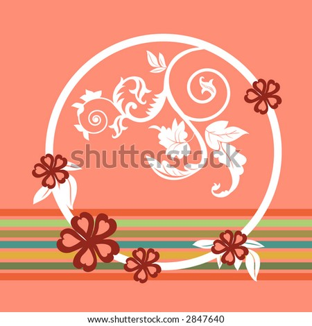 stylized leaves and design with stripes  vector - stock vector