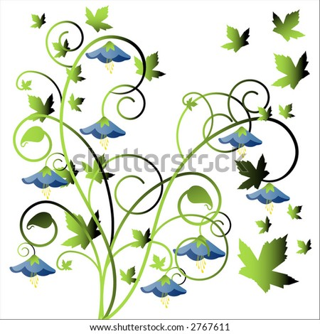 stylized leaves flowers and grass vector - stock vector