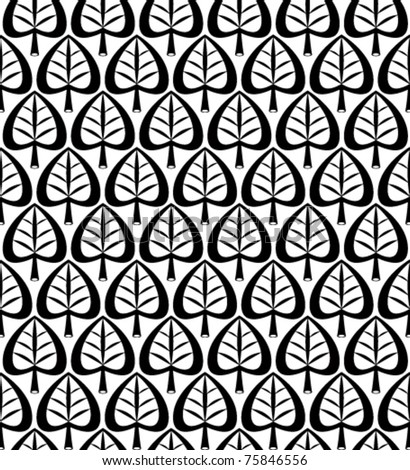 Stylized leaves monochrome geometric seamless pattern. Single black color vector background. - stock vector