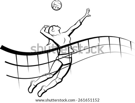 Stylized line design of a female volleyball player getting ready to spike the ball with a flowing net in front of her. - stock vector