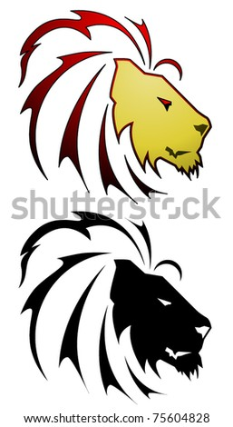 Stylized lion symbol in a tattoo style
