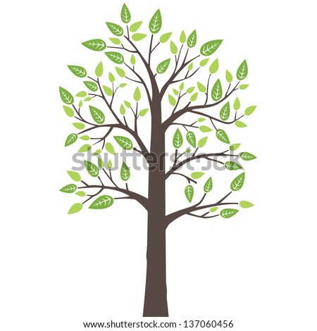 Stylized lone tree with fresh young leaves in spring. This image is a vector illustration. - stock vector