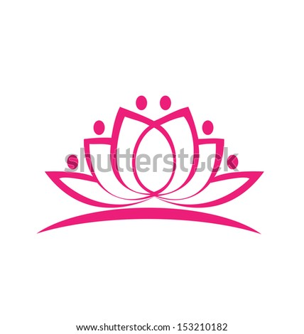 Stylized lotus flower icon vector background - stock vector