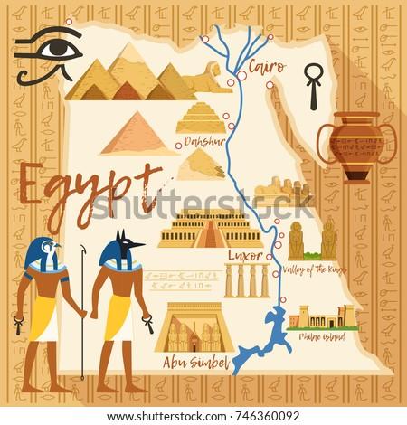 Set Egypt Symbols Landmarks Flat Vector Stock Vector - Map of egypt landmarks