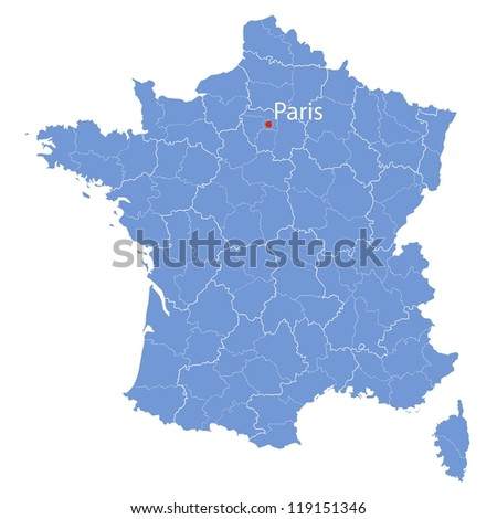 stylized map of France on white background - stock vector