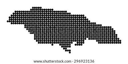 Stylized map of Jamaica made from black and grey dots - stock vector