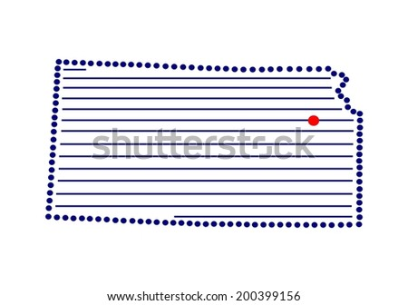 Stylized map of Kansas with marked capital (vector) - stock vector