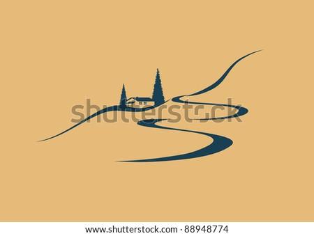 stylized middle european landscape - stock vector