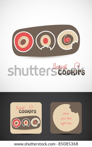 Stylized modern Spiral cookies Icon, Vector EPS10. - stock vector