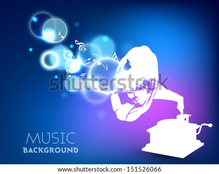 Stylized musical background with gramophone.  - stock vector