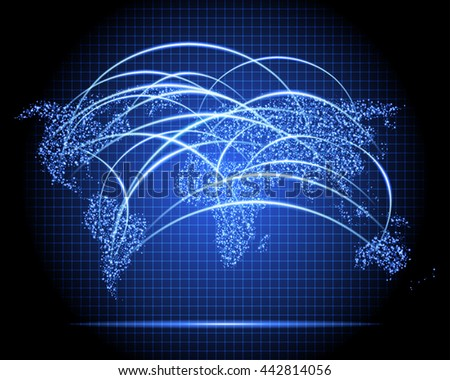 stylized neon sparkle world map radar with communication network nodes - stock vector