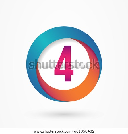 stylized number 4 design template