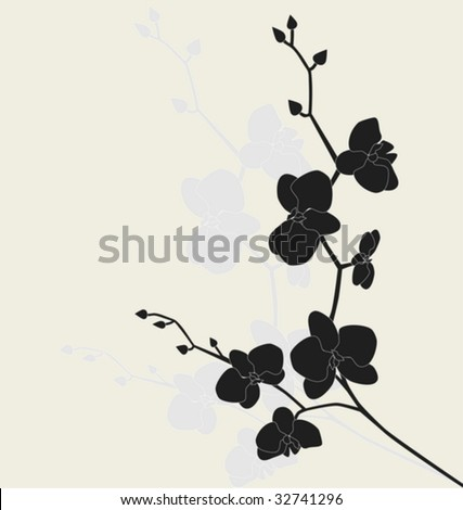 Stylized orchid branch, vector illustration - stock vector