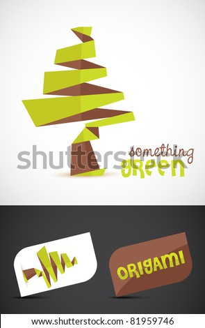 Stylized origami tree icon such logo, vector EPS10.