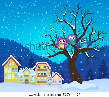Stylized owls on tree theme image 3 - eps10 vector illustration.
