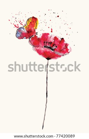 Stylized painted watercolor poppy flower with bright butterfly, VECTOR - stock vector