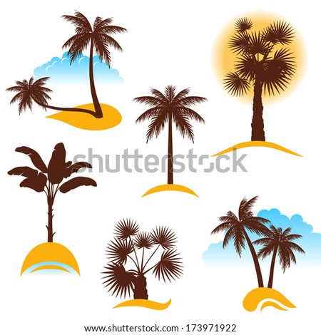 stylized palm trees - stock vector