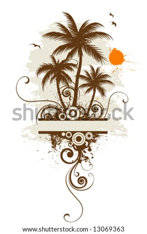 Stylized palm trees, text frame - stock vector